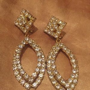 Clip On Rhinestones Earrings